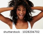 beautiful woman with hands in... | Shutterstock . vector #1028206702