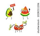 vector flat fruit characters... | Shutterstock .eps vector #1028211106