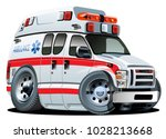 vector cartoon ambulance van... | Shutterstock .eps vector #1028213668