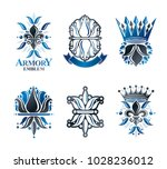 royal symbols lily flowers ... | Shutterstock .eps vector #1028236012