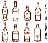 glass bottles alcohol drinks... | Shutterstock .eps vector #1028243092