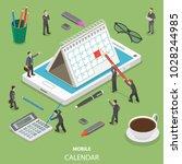 mobile calendar flat isometric... | Shutterstock .eps vector #1028244985
