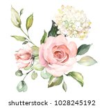 watercolor flowers. floral... | Shutterstock . vector #1028245192