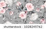 Stock photo seamless pattern with spring flowers and leaves hand drawn background floral pattern for 1028245762