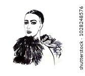 fashion drawing. beautiful... | Shutterstock . vector #1028248576