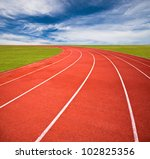 Running Track Over Blue Sky An...