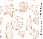 shell and starfish seamless...   Shutterstock .eps vector #1028254486