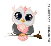 beautiful funny cartoon owl... | Shutterstock .eps vector #1028255452