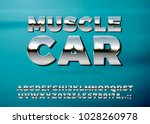 vector realistic chrome muscle... | Shutterstock .eps vector #1028260978