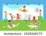 young children in art class... | Shutterstock .eps vector #1028268175