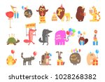 funky animals with party... | Shutterstock .eps vector #1028268382