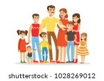 happy big caucasian family with ... | Shutterstock .eps vector #1028269012