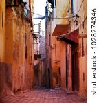 Narrow Street In Moroccan City
