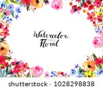watercolor floral background.... | Shutterstock . vector #1028298838