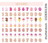 sweet numbers set in pastel... | Shutterstock .eps vector #1028301346
