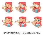 girl in different situations....   Shutterstock .eps vector #1028303782