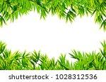 bamboo leaves frame isolated on ... | Shutterstock . vector #1028312536