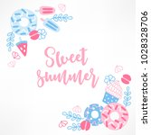 summer greeting card with ice...   Shutterstock .eps vector #1028328706