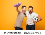 portrait of a two screaming... | Shutterstock . vector #1028337916