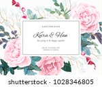 floral wedding invitation... | Shutterstock .eps vector #1028346805