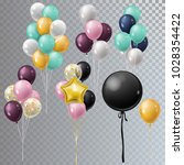 vector realistic bunch helium...   Shutterstock .eps vector #1028354422