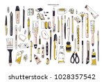 collection of hand drawn... | Shutterstock .eps vector #1028357542