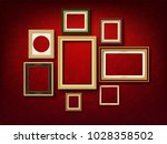 set of gold picture frame on... | Shutterstock .eps vector #1028358502