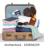 Packed Vintage Suitcase Full O...