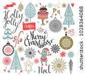 christmas icons. merry... | Shutterstock . vector #1028364088
