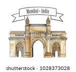 mumbai city gate way icon ... | Shutterstock .eps vector #1028373028