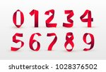paper folding numbers. red... | Shutterstock .eps vector #1028376502