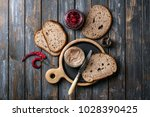 home made chicken liver pate or ... | Shutterstock . vector #1028390425