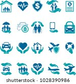 set of icons insurance of life... | Shutterstock .eps vector #1028390986