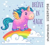 little pink pony unicorn with... | Shutterstock .eps vector #1028391958