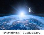 blue planet earth. spacecraft... | Shutterstock . vector #1028393392