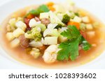 thick soup of italian origin... | Shutterstock . vector #1028393602