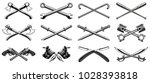 set of different crossed design ... | Shutterstock .eps vector #1028393818