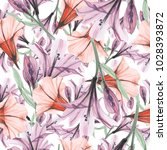 delicate flowers  seamless... | Shutterstock . vector #1028393872