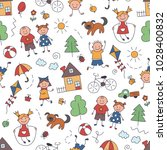 children in the village.... | Shutterstock .eps vector #1028400832