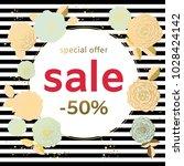 sale. flowers. roses. gold.... | Shutterstock .eps vector #1028424142