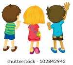 illustration of 3 kids with... | Shutterstock . vector #102842942