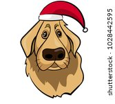 funny golden retriever cartoon... | Shutterstock .eps vector #1028442595