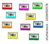 80s retro tape cassette... | Shutterstock .eps vector #1028450578