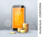 new model mobile phone   gold...   Shutterstock . vector #1028452846