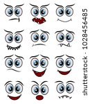 cartoon faces expression line... | Shutterstock .eps vector #1028456485