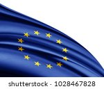 europe union  flag of silk with ... | Shutterstock . vector #1028467828