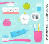 tooth. cute character. teeth ... | Shutterstock .eps vector #1028470702