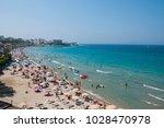 kusadasi beach in aydin city in ...   Shutterstock . vector #1028470978