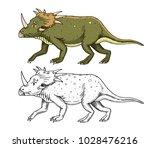 dinosaur triceratops  skeletons ... | Shutterstock .eps vector #1028476216