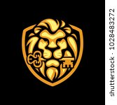 lion gold bite the key logo... | Shutterstock .eps vector #1028483272
